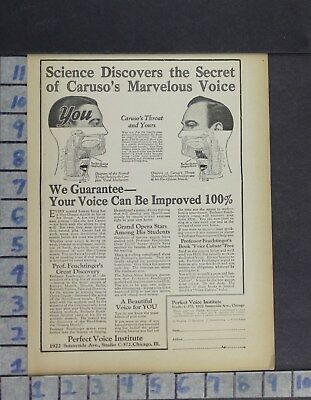 1923 Medical Perfect Voice Institute Science Caruso Singer Vintage Ad Di39