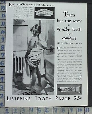 1930 Listerine Tooth Paste Child Shower Hygiene Bath Health Vintage Art Ad Ce38
