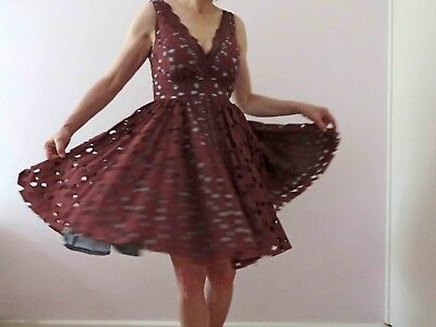 Karen Walker Brown Broderie Anglaise Cotton Dress Sm Free Postage for 3 + items
