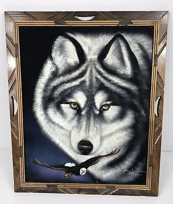 Vintage Black Velvet Painting of A Wolf And Bald Eagle by David Ortiz 23x19