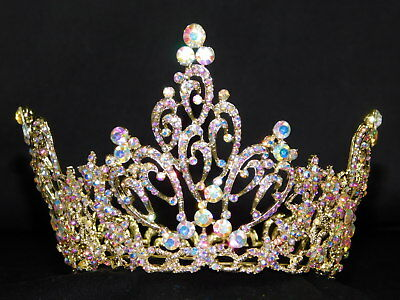 Bridal Pageant Gold Iridescent Rhinestone Crystal Queen Tiara Full round Crown