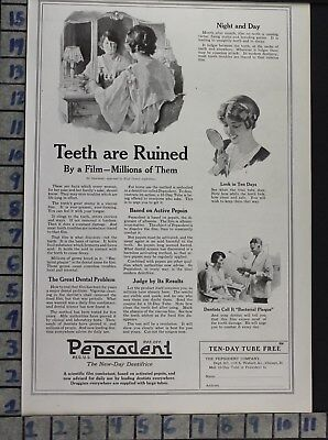 1920 Pepsodent Dental Vanity Office Tooth Paste Dentist Decor Vintage Ad  Bv74