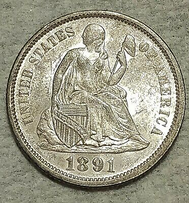 Uncirculated 1891-P Seated Liberty Dime! Blazing, blast-white specimen!