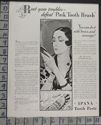 1929 Dental Ipana Bathroom Tooth Paste Home Decor Brush Vintage Art Ad  Bp99