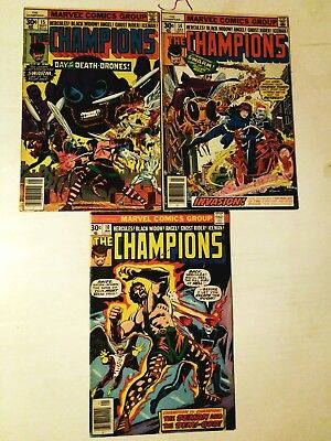 Champions Lot 3 Comics #10,14,15, The Swarm, Marvel 1977, Fn+6.5, Comb Shipping