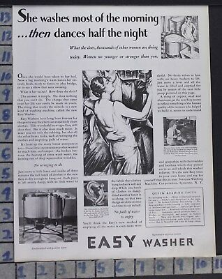 1928 Easy Washer Iron Clothes Syracuse Wringer Home Decor Vintage Art Ad  Cg34