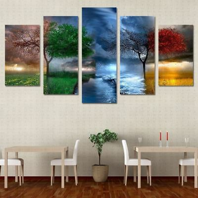 Framed Home Decor Canvas Print Painting Wall Art Colorful Season Weather Tree