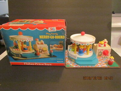 Vintage Fisher Price Little People Merry Go Round #111 w Box + 6 People - Works!