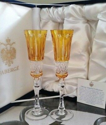 FABERGE New BOX Set of (2) Xenia Yellow Gold Cut to Clear Crystal Wine Flutes
