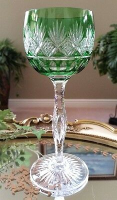 Vintage St Louis FRANCE Green Cut to Clear Crystal Wine Goblet, Teardrop Stem