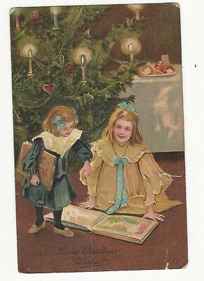 """Embossed """"loving Christmas Wishes"""" 2  Girls Looking At Book, Candles On Tree"""