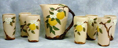Vintage Lot Of California Pottery-Orange Blossom- 1950's-7 Tumblers & 1 Pitcher