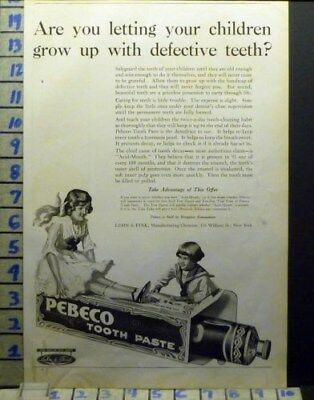 1918 Pebeco Tooth Paste Dental York Dentist Child Brush Health Art Ad  Av06