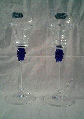 Pair J.G. Durand Cobalt Blue Accent Candlesticks - 24% Crystal - 7 3/4""