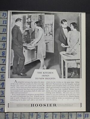 1928 Hoosier Kitchen Cabinet Wife Couple House Home Decor Vintage Art Ad  Cn40