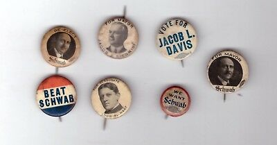 "LOT OF 7 PINS 7/8"" BUFFALO ERIE COUNTY NY MAYORS SCHWAB, Fuhrmann, Diehl, KNIGHT"