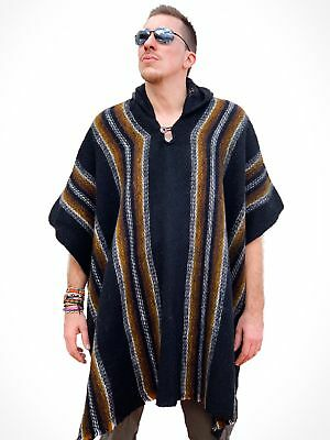 Llama Wool Mens Womans Unisex South American Xxl Poncho Cape Coat Jacket Cloak