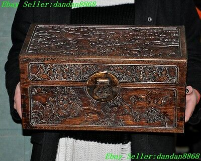 """16""""Chinese Huanghuali wood carved lucky Magpie bird flower Storage boxes cabinet"""