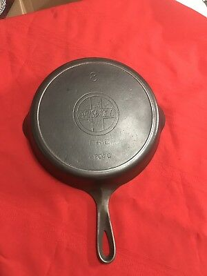 Early Griswold Slant Logo #8 Cast Iron Skillet 704G With Heat Ring, Seasoned!!!
