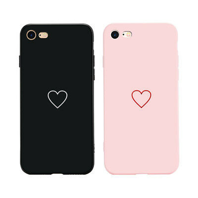 Fashion Love Heart Painted Phone Case For iphone 6 7 8 Plus X Couples Case Pop