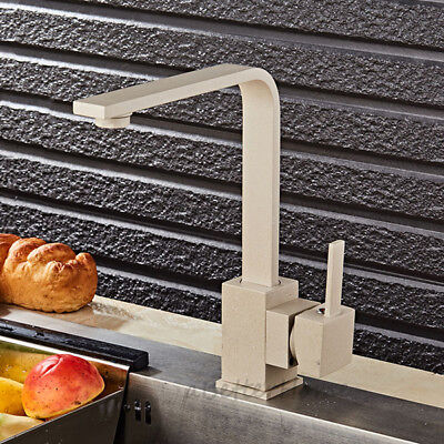 Square Oats Color Solid Brass Kitchen Sink Faucet Single Handle Swivel Mixer Tap