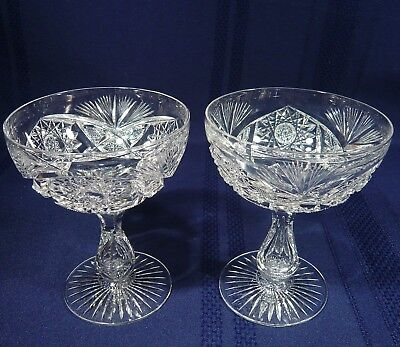 2 RARE Antique ABP LIBBEY Crystal COLONNA Champagne Wine Glass  LRS99