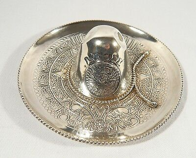 Large 4 3/4 inch Sterling Silver Sombrero Mexico Pin Dish