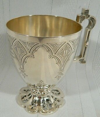 Antique 1855 Outstanding STERLING Silver Christening CUP Mug GOTHIC J Mayer 186g