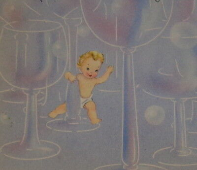 """Vintage greeting card, cute New Year baby and champagne glasses, 5 1/2"""" used"""