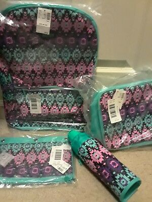 NWT Justice Girls Southwest Sparkle  Backpack Lunchbox Water bottle pencil case