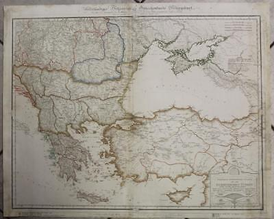 Greece Cyprus Balkan Countries Turkey 1828 E. Klein Unusual Large Antique Map