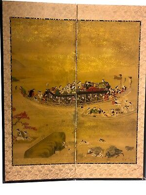 Antique Japanese Painting Gold Ground Folding Screen Signed