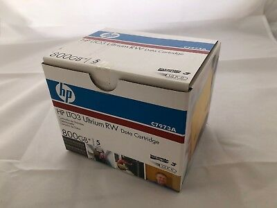 Brand NEW HP LTO3 Ultrium RW 800GB Data Cartridge 5-Pack - C7973A FREE SHIPPING!