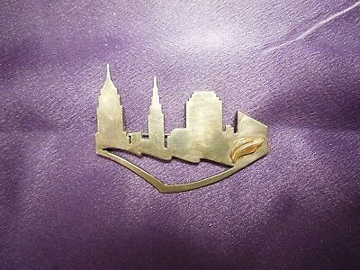 New York Manhattan Skyline Sterling Silver Brooch Pin Silhouette Modern