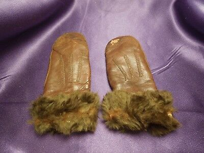 Vintage Small Brown Leather and Fur Children's Winter Glove