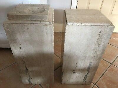 Pair Of Antique Marble Stands, Plant/Ornamental Stands