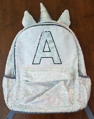 "JUSTICE Girl's Silver/White Sparkle Unicorn Sequin Letter ""A"" School Backpack"