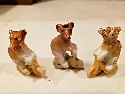 Circus Bear on Bike Cake Candle Toppers Antique Bisque German Porcelain 3 Pieces