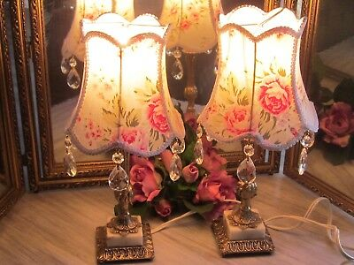 Vintage Small Pair Ashwell Brass Marble Chandelier Scone Prism Table Lamps