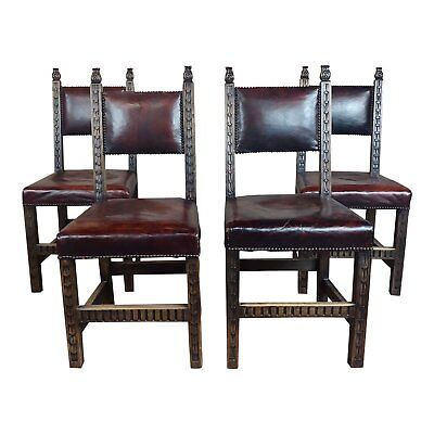 Vintage Reinassance carved Oak Chairs w/wine leather seat-Set of 4
