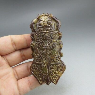 China, jade,collection,hand-carved,jade,cicada,pendant F165
