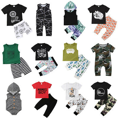 AU 2pcs Infant Baby Boys Casual Outfits Clothes Tee Tops Romper+Pants Shorts Set