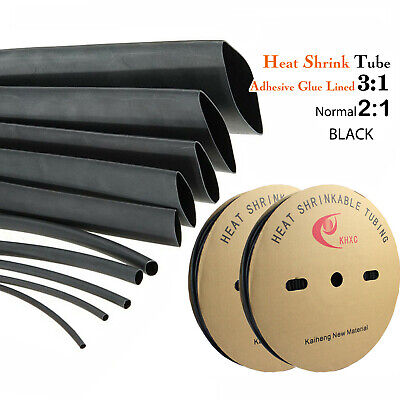 Heavy Duty Heat Shrink Tube Heatshrink Black (3:1 Adhesive Dual Wall & 2:1 Wrap)
