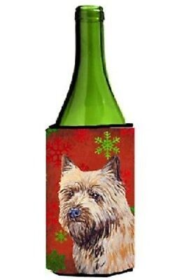 Cairn Terrier   Snowflakes Holiday Christmas Wine Bottle Beverage Insulator