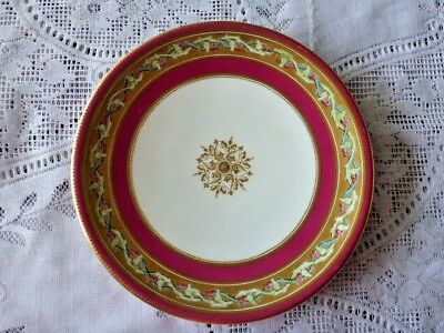 Unmarked Cake Plate Pink, Gilded With Twined Green Vine And Pink Flowers