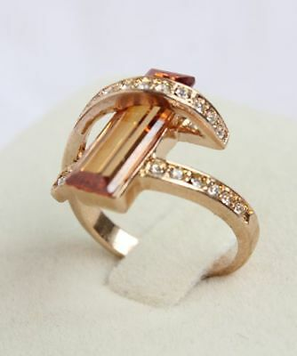 AAA 18K Yellow Gold Filled 1.5ct Diamond Champagne Cocktail Cluster Ring Size 8
