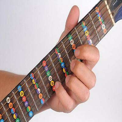 Beginners Guitar Bass Fretboard Note Neck Stickers Decals Musical Notes LA