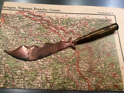 Ww1 Trench Art Verdun 1917 Letter Opener With Rifle Bullet,look