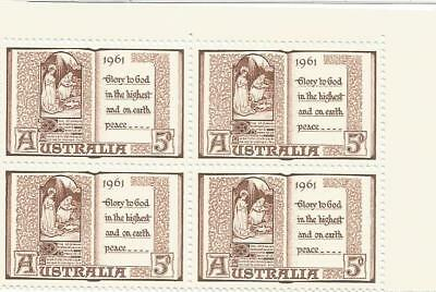 AUSTRALIA 1961 5d CHRISTMAS BLOCK OF 4 MUH