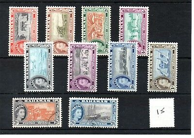BAHAMAS - (15) - 1954 Definitives - selection - Mint & Used - SG Cat £8